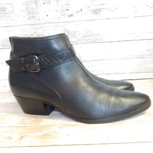 Aquatalia black leather buckle ankle boots